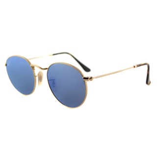 Ray-Ban RB 3447N 001/9O Round Shiny Gold Metal Frame with Blue Flat-flash Lenses Sunglasses