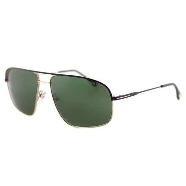 9beabc2557a Tom Ford TF 467 02N Justin Navigator Black Gold Metal Aviator Green Lens  Sunglasses