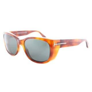 Tom Ford TF 441 53N Carson Blonde Havana Plastic Rectangle Green Lens Sunglasses