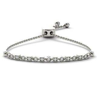 De Couer S925 Sterling Silver 1/8ct TDW Diamond Adjustable Slider Bracelet