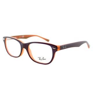 Ray-Ban Brown/Fluorescent Orange Plastic Rectangle Eyeglasses