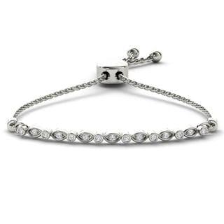 De Couer S925 Sterling Silver 1/8ct TDW Diamond Adjustable Slider Bracelet (H-I, I2)