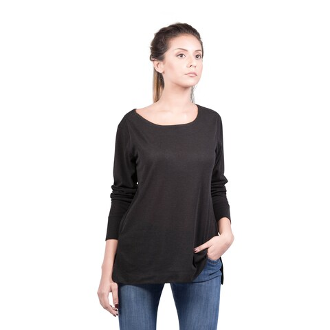 Bluberry Women's Charcoal Long-sleeve Flight Crew Top