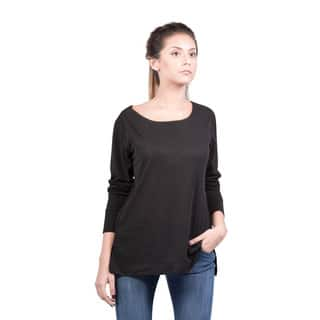Bluberry Women's Charcoal Long-sleeve Flight Crew Top|https://ak1.ostkcdn.com/images/products/12376146/P19200144.jpg?impolicy=medium