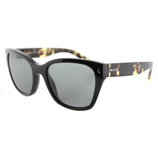 Prada PR 09SS 1AB9K1 Black Plastic Square Grey Lens Sunglasses