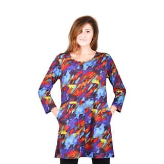 Bluberry Women's Stained Glass Art Printed Long Tunic|https://ak1.ostkcdn.com/images/products/12376162/P19200148.jpg?impolicy=medium