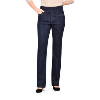 Bluberry Women's Dark Blue Rinse Straight Cut Denim Jeans