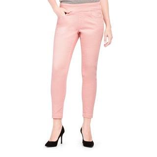 Bluberry Women's Dawn Pink Plus-size Slim Ankle-length Denim Pants