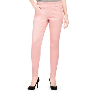 Bluberry Women's Dawn Pink Polyester and Spandex Plus Size Slim Leg Denim