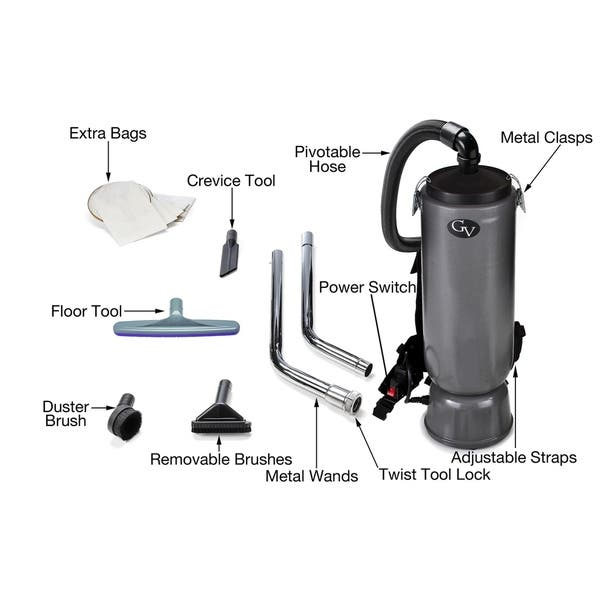 Gv Grey 10 Quart Commercial Backpack Vacuum With Restaurant Industrial Commercial Proteam Tool Kit