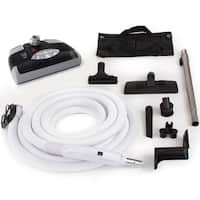 35-foot Central Vacuum Kit with Power Head and Tools - Black