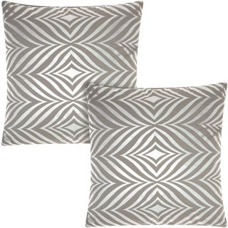 Mina Victory Luminescence Diamond Zebra Silver/Grey 18-inch Throw Pillow (Set of 2) by Nourison
