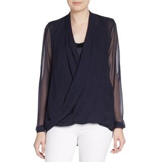 Elie Tahari Women's Francis Black 100% Silk Sheer Wrap Blouse