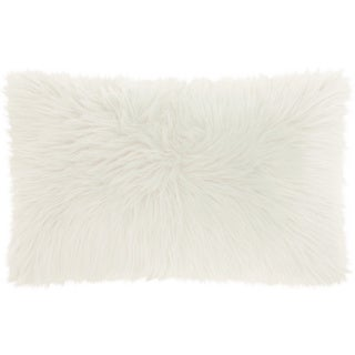 Mina Victory Faux Fur White Throw Pillow (14-inch x 24-inch) by Nourison