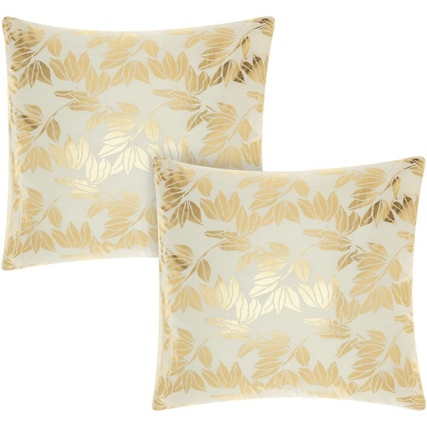 Mina Victory Luminescence Olive Leaves Ivory/GoldThrow Pillow Set of 2 by Nourison (18-Inch X 18-Inch)
