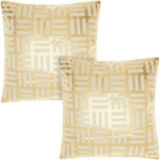 Mina Victory Luminescence Modern Basketweave Ivory/Gold 18-inch Throw Pillow (Set of 2) by Nourison