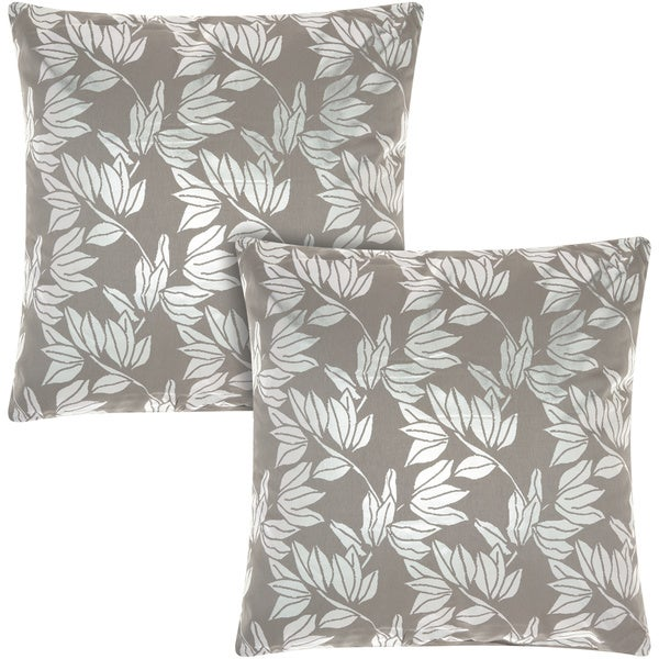 Mina Victory Luminescence Olive Leaves Silver/Grey 18-inch Throw Pillow (Set of 2) by Nourison
