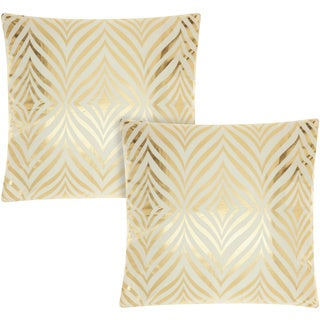 Mina Victory Luminescence Diamond Zebra Ivory/Gold 18-inch Throw Pillow (Set of 2) by Nourison