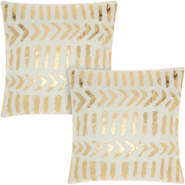 Mina Victory Luminescence Raised Tribal Print Ivory Gold 18 Inch Throw Pillow Set