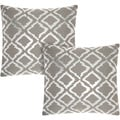 Mina Victory Luminescence Metallic Flamestitch Silver/Grey 18-inch Throw Pillow (Set of 2) by Nourison