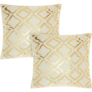 Mina Victory Luminescence Metallic Flamestitch Ivory/Gold 18-inch Throw Pillow (Set of 2) by Nourison