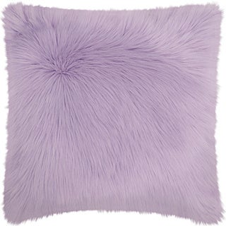 Mina Victory Faux Fur Lavender Throw Pillow (22-inch x 22-inch) by Nourison