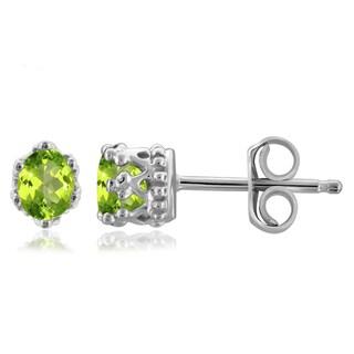 Jewelonfire 0.38 CTW Peridot Gemstone Crown Stud Earring in Sterling Silver