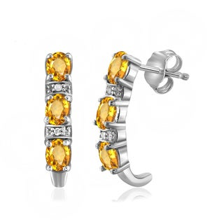 Jewelonfire 0.90 CTW Citrine Gemstone & Accent White Diamond J Hoop Earring in Sterling Silver (2 options available)