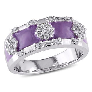 Miadora 18k White Gold 1/6ct TDW Diamond and Purple Enamel Baby Ring