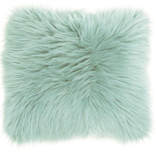 Mina Victory Faux Fur Pastel Seafoam Green Throw Pillow (1'10 x 1'10)