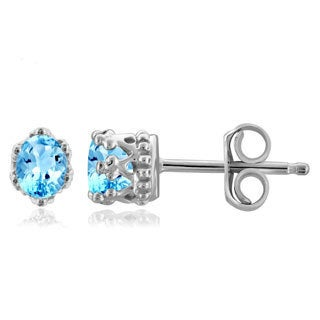 Jewelonfire 0.38 CTW Blue Topaz Gemstone Crown Stud Earring in Sterling Silver