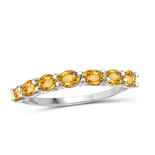 Jewelonfire 1.26 CT Citrine Gemstone Band Ring in Sterling Silver