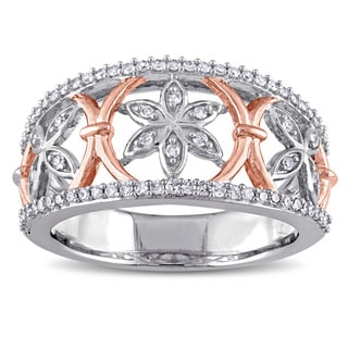 Miadora 10k 2-tone White and Rose Gold 1/3ct TDW Diamond Flower Ring