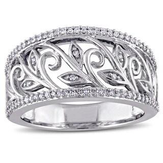 Miadora 10k White Gold 1/4ct TDW Diamond Floral Filigree Ring (G-H, I2-I3)