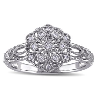 Miadora 10k White Gold 1/10ct TDW Diamond Vintage Flower Ring (G-H, I2-I3)