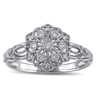 Miadora 10k White Gold 1/10ct TDW Diamond Vintage Flower Ring