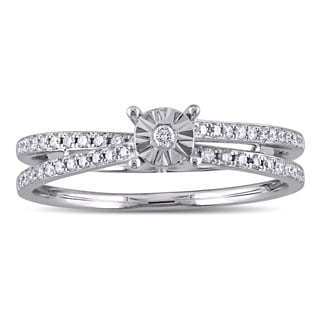 Miadora 18k White Gold 1/5ct TDW Diamond Split Shank Promise Ring