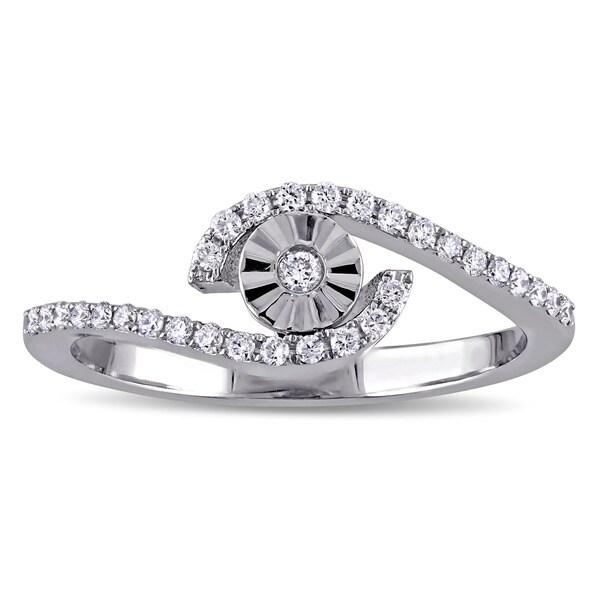 Miadora 18k White Gold 1/5ct TDW Diamond Bypass Promise Ring