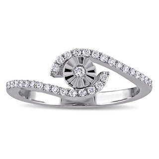 Miadora 18k White Gold 1/5ct TDW Diamond Bypass Promise Ring