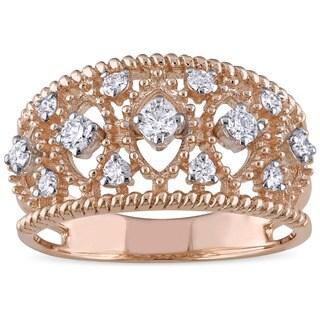 Miadora Signature Collection 18k Rose Gold 2/5ct TDW Diamond Filigree Ring