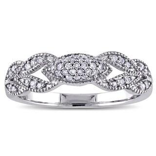 Miadora 10k White Gold 1/5ct TDW Diamond Vintage Milgrain Flower Ring