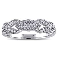 Miadora 10k White Gold 1/5ct TDW Diamond Vintage Milgrain Flower Ring