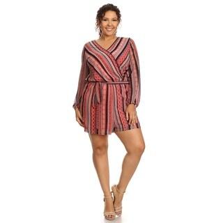 Hadari Women's Plus Size Long Sleeve Romper