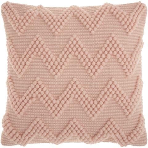Mina Victory Chevron Textured Millennial Pink Throw Pillow (1'8 x 1'8)