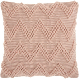 Mina Victory Chevron Textured Millennial Pink Throw Pillow (1'8 x 1'8)