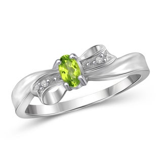 Jewelonfire 0.19 CT Peridot Gemstone & Accent White Diamond Bow Ring in Sterling Silver