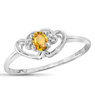 Jewelonfire 0.18 CT Citrine Gemstone & Accent White Diamond Heart Ring in Sterling Silver