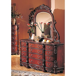 Best Master Furniture Traditional Cherry Dresser and Mirror