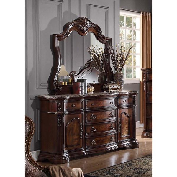 Best Master Furniture Traditional Walnut 6 Drawer Dresser And Mirror