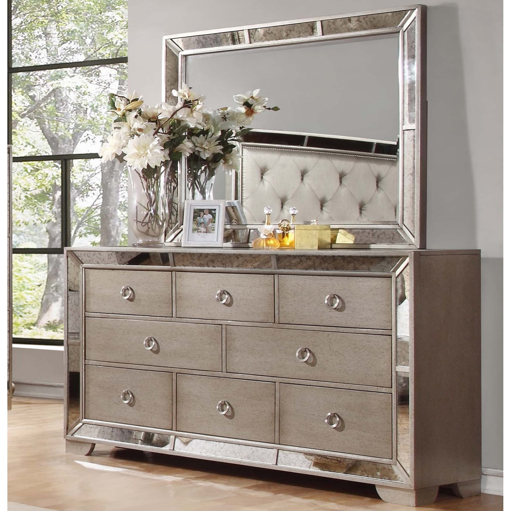 Best Master Furniture Silver Bronze Dresser And Mirror